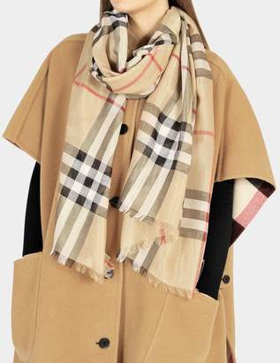 Burberry 220X70 Giant Check Wool and Silk Gauze Scarf in Camel and Gold Wool, Mulberry Silk, Lurex and Viscose