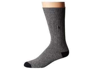 Polo Ralph Lauren Single Cashmere Rib Heel/Toe Men's Crew Cut Socks Shoes