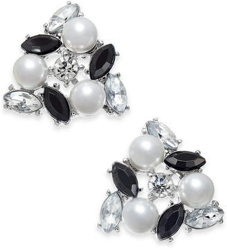 INC International Concepts I.N.C. Silver-Tone Crystal, Stone & Imitation Pearl Cluster Stud Earrings, Created for Macy's