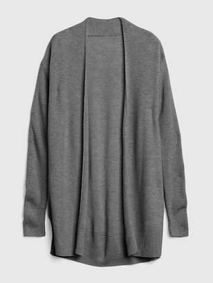 Gap Textured Open-Front Cardigan Sweater in Merino Wool-Blend