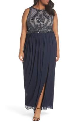 Adrianna Papell Beaded Bodice Chiffon Gown