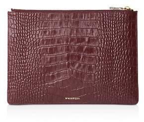 Whistles Medium Shiny Croc-Embossed Leather Clutch