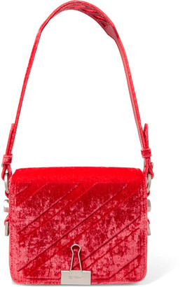 Off-White - Embossed Velvet Shoulder Bag - Red $1,055 thestylecure.com