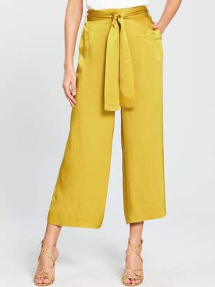 387cc303 Whistles Satin Belted Wide Leg Trousers - Gold