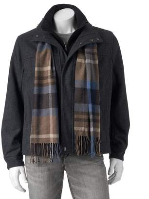 London Fog Tower By Big & Tall Tower by Wool-Blend Hipster Jacket with Plaid Scarf