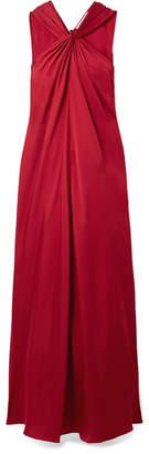 Elizabeth and James Cavan Twist-front Satin-twill Maxi Dress - Red