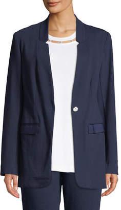 Joan Vass Snap-Front Long-Sleeve Boyfriend Blazer with Pockets, Plus Size