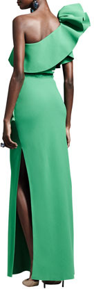 Lanvin Ruffled One-Shoulder Gown, Green