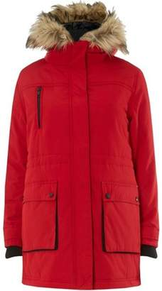 Dorothy Perkins Womens Petite Red Padded Technical Parka Coat