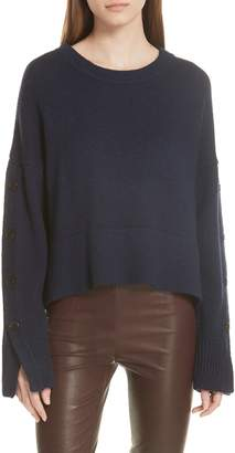 Jason Wu GREY Aquila Button Sleeve Merino Wool Sweater