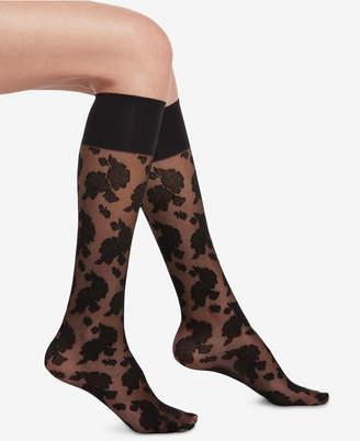 Hue Sheer Floral Knee-High Socks