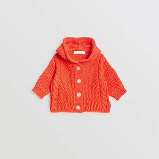 Burberry Contrast Knit Cotton Hooded Jacket , Size: 18M, Red