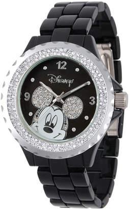 EWatchFactory Disney Mickey Mouse Women Black Enamel Sparkle Alloy Watch