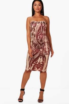 boohoo Boutique Sequin Bandeau Midi Dress
