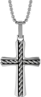 Silver Cross FINE JEWELRY Mens Stainless Steel Cross Pendant Necklace