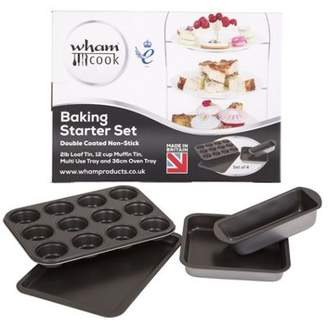 Wham Baking Starter Set - 2Lb Loaf Tin, 12 Cup Muffin Tin, Multi-Use Tray, 36Cm Oven Tray