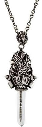 Versace Vintage Quartz Sword Pendant Necklace