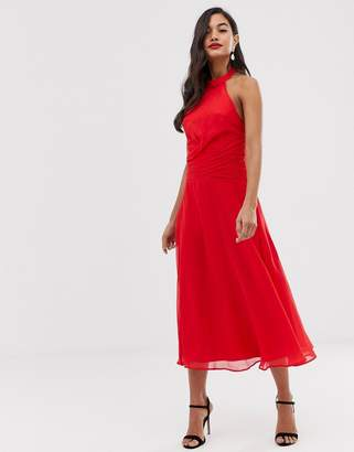 5fe61c0a4d360 Asos Design DESIGN midi dress with high neck and drape waist detail
