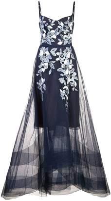 Marchesa long flared dress