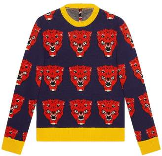 Gucci Tiger jacquard knitted sweater