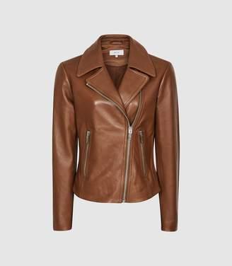 Reiss Blair - Leather Biker Jacket in Tan