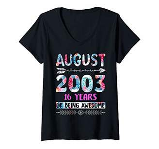 Womens Womens August 2003 Birthday Gifts Floral Tee for Girls V-Neck T-Shirt