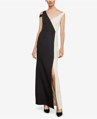 BCBGMAXAZRIA Colorblocked Cold-Shoulder Gown