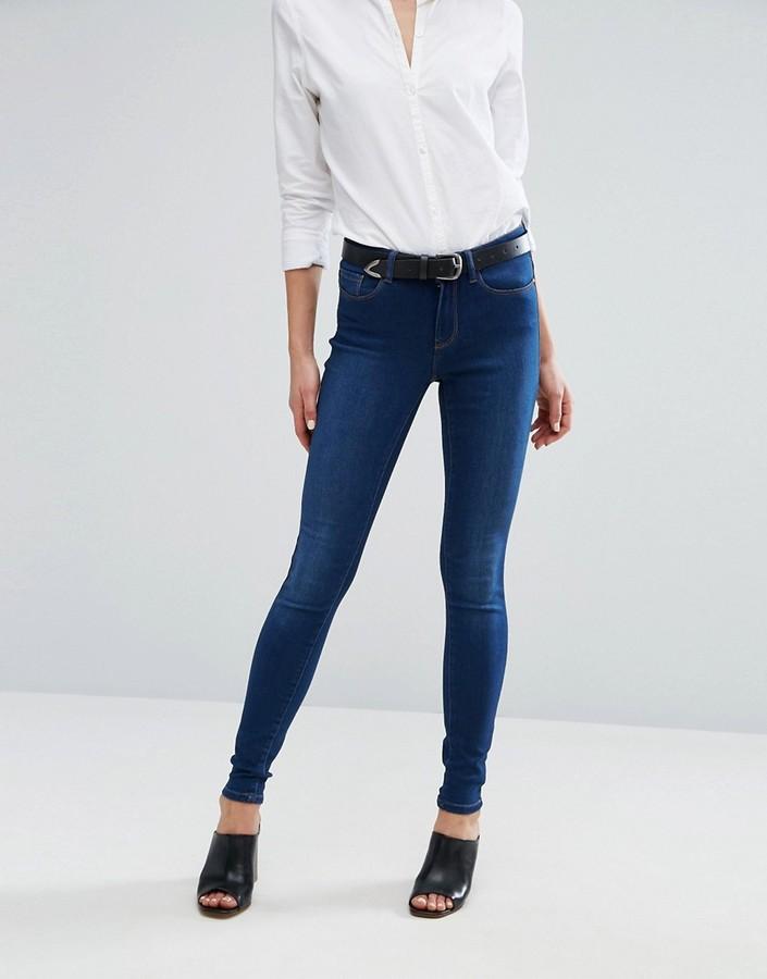 High Waisted Indigo Skinny Jeans - ShopStyle Australia