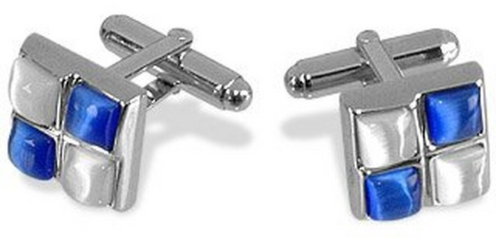 Forzieri Blue and White Stones Silver Plated Cuff Links