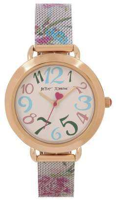 Betsey Johnson Women's Floral Mesh Bracelet Watch, 36mm