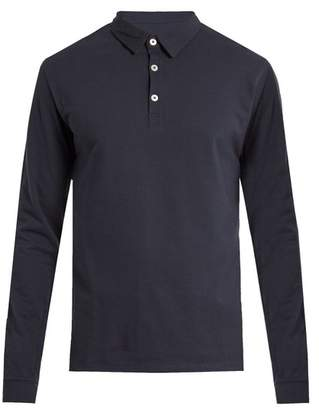 Hamilton And Hare - Long Sleeved Cotton Polo Shirt - Mens - Navy