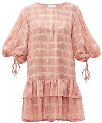 Binetti Love Balloon Sleeve Checked Crepe Mini Dress - Womens - Pink