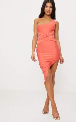 PrettyLittleThing Coral Double Layer Slinky One Shoulder Ruched Detail Midi Dress