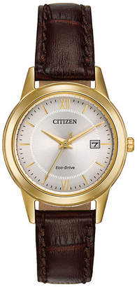 Citizen Eco-Drive Womens Brown Leather Strap Watch FE1082-05A