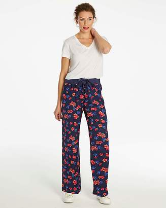 Fashion World Floral Slouch Linen Mix Wide Trs Reg