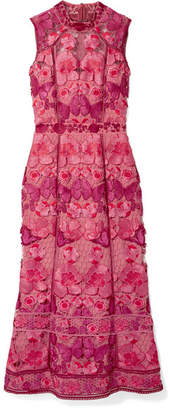 Marchesa Embroidered Guipure Lace Midi Dress - Pink