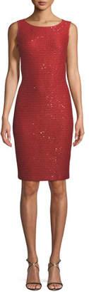St. John Glamour Sequin Knit Bateau-Neck Cocktail Dress