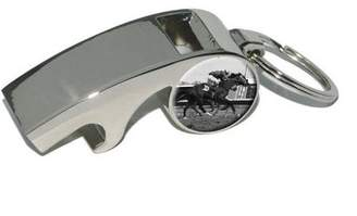 Generic At the Track, Horse Racing Vintage, Plated Metal Whistle Bottle Opener Keychain Key Ring