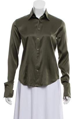 Ralph Lauren Black Label Silk Button-Up Blouse