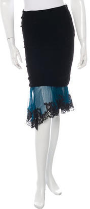 Jean Paul Gaultier Lace-Trimmed Velvet Skirt $100 thestylecure.com