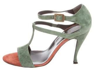 Roger Vivier Suede T-Strap Sandals Green Suede T-Strap Sandals