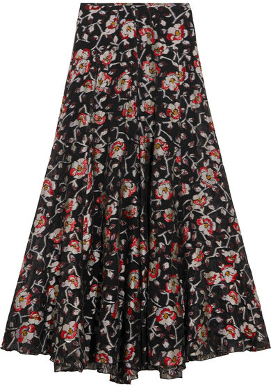 Isabel Marant - Peace Metallic Floral-jacquard Maxi Skirt - Black