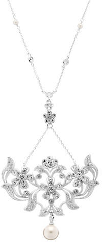 Nadri Faux Pearl and Crystal Lariat Necklace