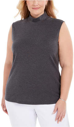 Karen Scott Plus Size Sleeveless Mock-Neck Top