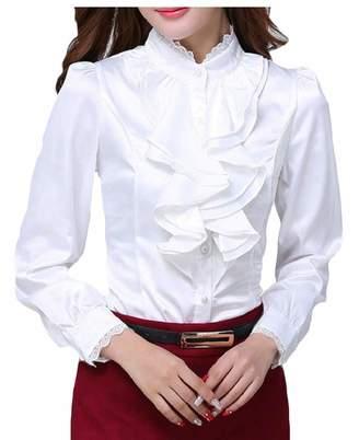371247443ddbd Esast Women Victorian Blouse Lolita Lace Stand-up Collar Lotus Ruffle Shirt  L