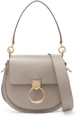 Chloé Tess Large Leather And Suede Shoulder Bag - Gray