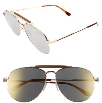 Women's Tom Ford Sean 60Mm Aviator Sunglasses - Gold Mirror/ Brown/ Rose