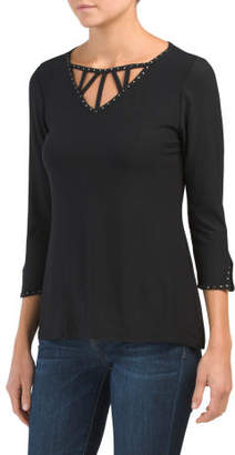 Cage Front Knit Top