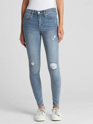 Gap Soft Wear Mid Rise True Skinny Jeans in Distressed