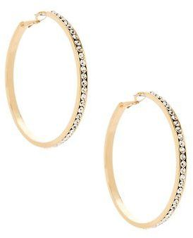 GByGUESS G By Guess Women's Large Gold Rhinestone Hoop Earrings $16.99 thestylecure.com